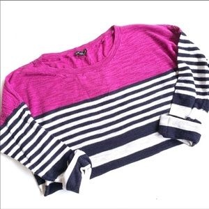 Express striped sweater pink blue sleeve small